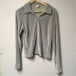Soft Blue Grey Velvet Zip up J. Crew Jacket